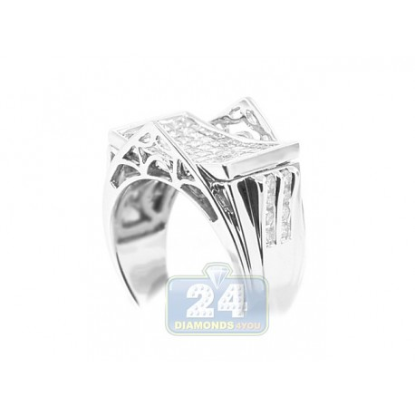 14K White Gold 2 ct Princess Cut Diamond Mens Signet Ring