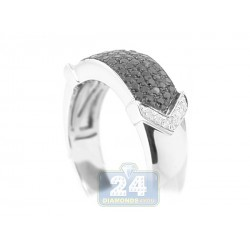 14K White Gold 0.58 ct Black Diamond Mens Band Ring