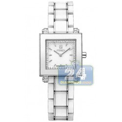 F622240DDC Fendi White Ceramic Square Diamond Dial Watch 25mm
