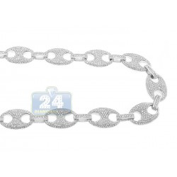 14K White Gold 21.52 ct Diamond Mens Chain 31 1/8 Inches