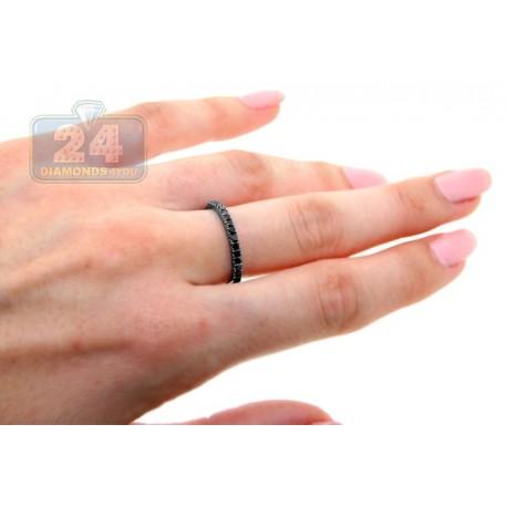 Black PVD 18K Gold 0.45 ct Half Way Diamond Womens Band Ring