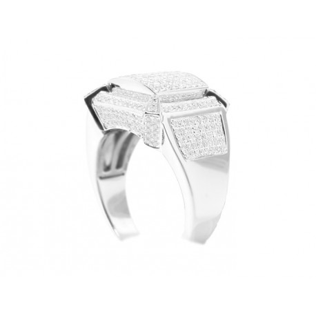 14K White Gold 1.38 ct Round Cut Diamond Mens Ring