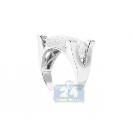 14K White Gold 1.56 ct Diamond Pave Mens Ring