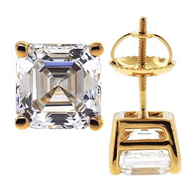 Laboratory-Created Asscher Cut Diamond Studs