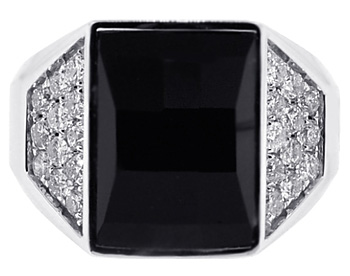 Mens Diamond Black Onyx Ring