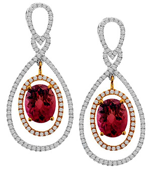 Womens Pink Tourmaline Diamond Dangle Earrings